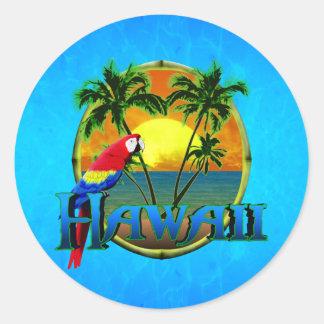 Hawaii Sunset Classic Round Sticker