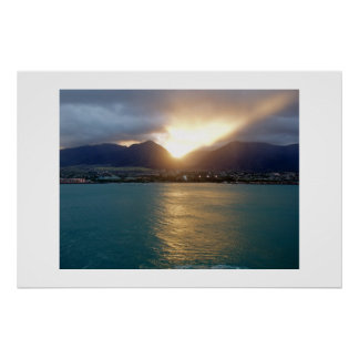 Hawaii Sunset During The Storm Poster