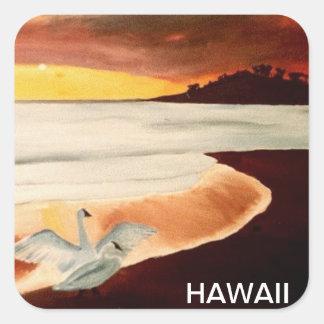 Hawaii sunset island seascape sticker art
