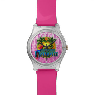 Hawaii Sunset Pink Tiki Watch