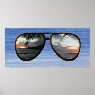 Hawaii Sunset Sunglasses Poster