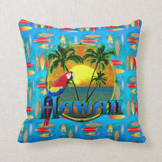 Hawaii Sunset Surfboards Throw Pillow