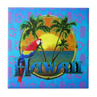 Hawaii Sunset Tiki Mask Small Square Tile