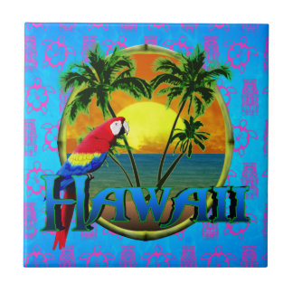 Hawaii Sunset Tiki Mask Tile