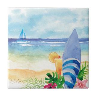Hawaii Surf Vacation - Watercolor Art Tile