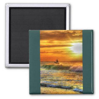 Hawaii Surfer at Sunset Vibrant Orange Magnet