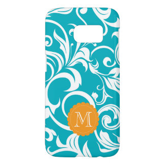 Hawaii Teal Orange Floral Wallpaper Swirl Monogram