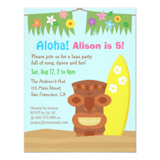 Hawaii Tiki Luau Beach Theme Birthday Party 11 Cm X 14 Cm Invitation Card
