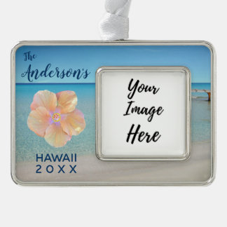Hawaii Trip Beach Landscape Year Silver Plated Framed Ornament