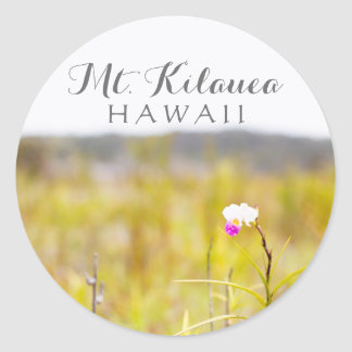 Hawaii Tropical Orchid Volcanoes National Park Round Sticker