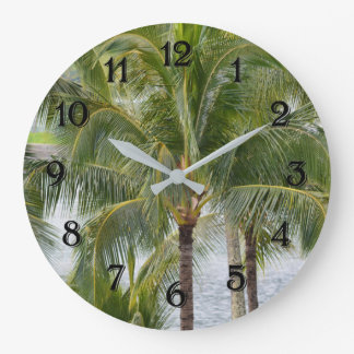 Hawaii Tropical Palm Trees Large Clock