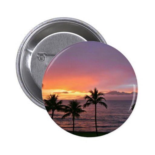 Hawaii Tropical Sunset on the Beach Buttons