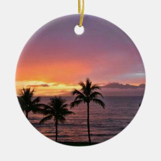 Hawaii Tropical Sunset on the Beach Christmas Ornament