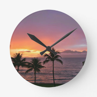 Hawaii Tropical Sunset on the Beach Round Clock