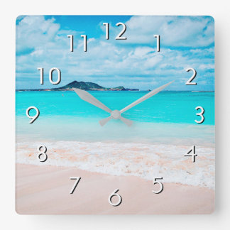 Hawaii turquoise blue ocean and sandy beach photo square wall clock