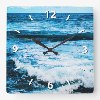 Hawaii turquoise blue ocean waves close-up photo square wall clock