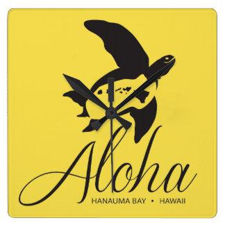 Hawaii Turtle Aloha Square Wall Clock