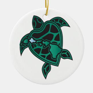 Hawaii Turtle and Hawaii Islands Round Ceramic Decoration