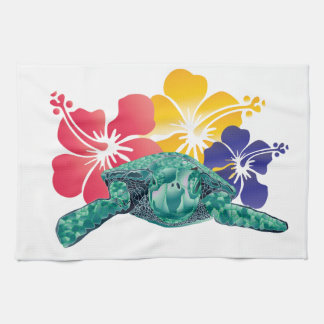 Hawaii Turtle and Hibiscus Flowers Tea Towel