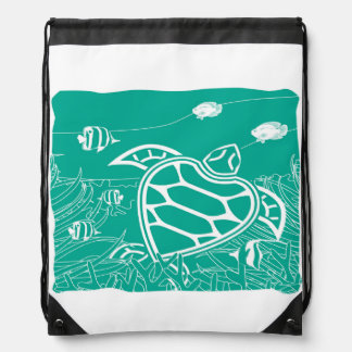 Hawaii Turtle Drawstring Bag