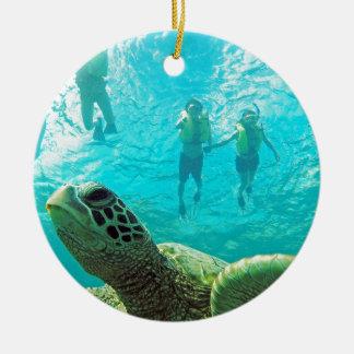 Hawaii Turtle Round Ceramic Decoration