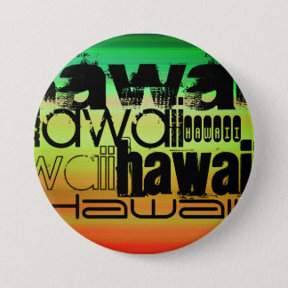 Hawaii; Vibrant Green, Orange, & Yellow 7.5 Cm Round Badge