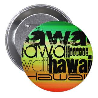 Hawaii; Vibrant Green, Orange, & Yellow 7.5 Cm Round Badge