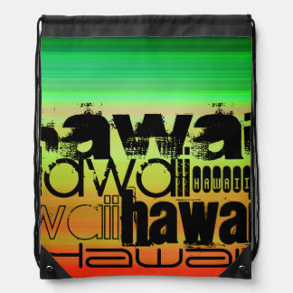 Hawaii; Vibrant Green, Orange, & Yellow Drawstring Bag