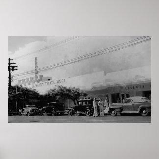 Hawaii - View of the Waikiki Theater Block Poster