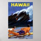 Hawaii Vintage Travel Poster Restored
