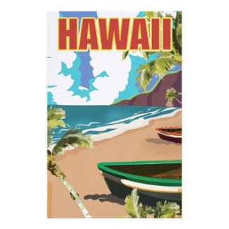 Hawaii vintage travel poster stationery