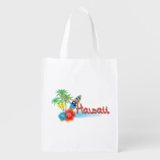 Hawaii with Palm Trees, Surf Board and Flowers Reusable Grocery Bags