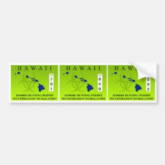 Hawaii Zombie Hunting Permit Bumper Sticker