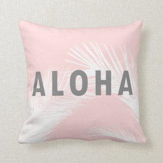 Hawaiian Aloha Grey Typography Palm Trees  Pink Cushion