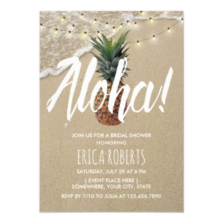 Hawaiian Aloha Pineapple Beach Bridal Shower Card