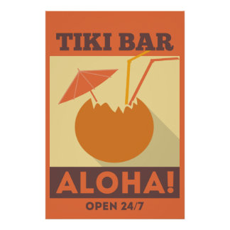 Hawaiian Aloha Tiki Bar Poster