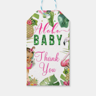 Hawaiian Aloha Tropical Baby Girl Vintage Favor Gift Tags