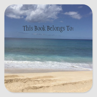 Hawaiian Beach Book Label Square Sticker