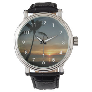 Hawaiian Beach Sunset Wrist Watch