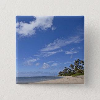 Hawaiian beach with palm trees. 15 cm square badge