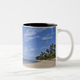 Hawaiian beach with palm trees. Two-Tone coffee mug