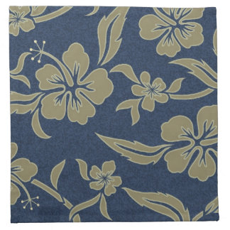 HAWAIIAN BLUE FLORAL COCKTAIL NAPKINS (Set of 4)