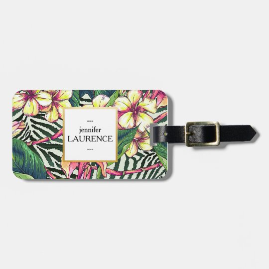 Hawaiian Bold Plumeria Bright Floral Personalised Luggage Tag