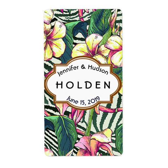 Hawaiian Bold Plumeria Floral Wedding Custom Wine