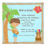 Hawaiian Boy Luau Square Birthday Invitation