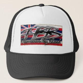 Hawaiian by Blood w flag Trucker Hat