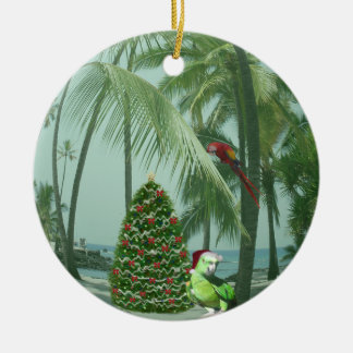 Hawaiian Christmas Ceramic Ornament