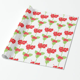 hawaiian christmas holly wrapping paper