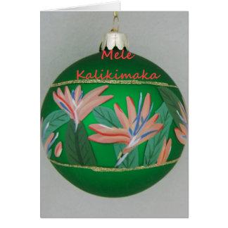 Hawaiian Christmas Ornament with Flower Greeting Card