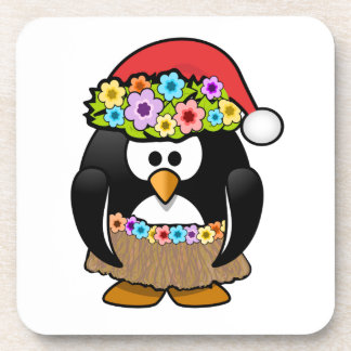 Hawaiian Christmas Penguin Beverage Coasters